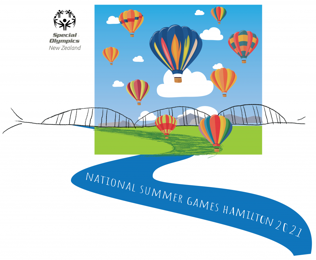 The winning logo design, featuring hot air balloons, the waikato river and the Fairfield Bridge